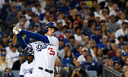 October 31, 2017 - Los Angeles, California, U.S. - Los Angeles' Cody Bellinger reacts as he strikes out against Houston's Justin Verlander (not pictured) in the 2nd inning of game six of a World Series baseball game at Dodger Stadium on Tuesday, Oct. 31, 2017 in Los Angeles. (Photo by Keith Birmingham, Pasadena Star-News/SCNG) (Credit Image: © San Gabriel Valley Tribune via ZUMA Wire)