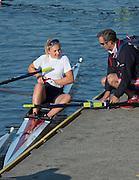 Amsterdam. NETHERLANDS. Left spare, Jessica LEYDEN and coach Nick STRANGE. 2014 FISA  World Rowing. Championships.  De Bosbaan Rowing Course . 08:37:49  Thursday  21/08/2014  [Mandatory Credit; Peter Spurrier/Intersport-images]