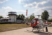 Nederland, Belgie, Genk, 27-05-2013; Tanken  van helikopter Ryfas op Vliegveld Zwartberg.<br /> Refueling helicopter Airport Zwartberg.<br /> copyright foto/photo Siebe Swart.
