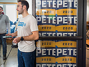 28 JANUARY 2020 - OSCEOLA, IOWA: A Pete Buttigieg campaign volunteer greets people arriving at a Buttigieg campaign event in Osceola, about 50 miles south of Des Moines. Buttigieg talked to a crowd of about 130 people in Osceola. Buttigieg, the former mayor of South Bend, Indiana, is running to be the Democratic nominee for President in the 2020 election. Iowa traditionally holds the first presidential selection event of the 2020 election cycle. The Iowa Caucuses are on Feb. 3, 2020.     PHOTO BY JACK KURTZ
