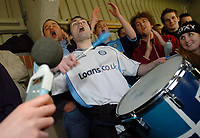 Photo: Leigh Quinnell.<br /> Wycombe Wanderers v Shrewsbury Town. Coca Cola League 2. 11/03/2006. The Wycombe drummer makes some noise.