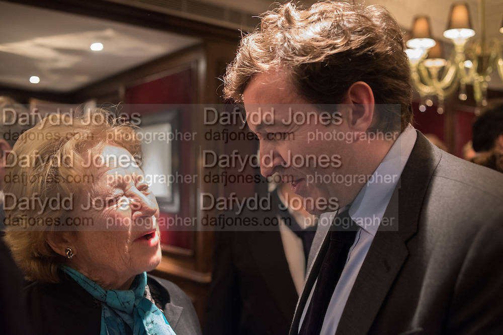 LADY CAZALET; NICKY DUNNE, David Campbell Publisher of Everyman's Library and Champagen Bollinger celebrate the completion of the Everyman Wodehouse in 99 volumes and the 2015 Bollinger Everyman Wodehouse prize shortlist. The Archive Room, The Goring Hotel. London. 20 April 2015.