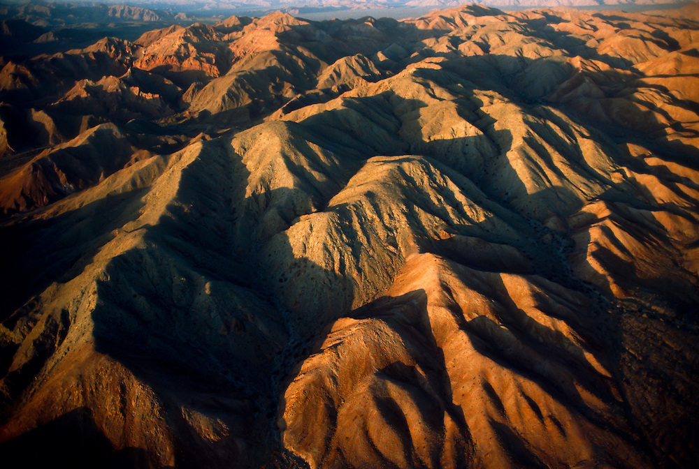 A group of hills and moutains in an aerial view of Baja California.