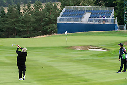 Gleneagles, Scotland, UK; 8 August, 2018.  Day one of golf competition at Gleneagles.. Men's and Women's Team Championships Round Robin Group Stage - 1st Round. Four Ball Match Play format. Gleneagles for the European Championships 2018. Pictured; Laura Davies hits approach to 8th green