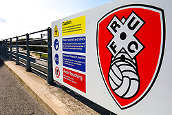 Covid-19 signs at the Aesseal New York Stadium, home to Rotherham United - Mandatory by-line: Ryan Crockett/JMP - 19/09/2020 - FOOTBALL - Aesseal New York Stadium - Rotherham, England - Rotherham United v Millwall - Sky Bet Championship
