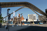 Whittle Arch in Coventry City Centre in the UK City of Culture 2021 on 23rd June 2021 in Coventry, United Kingdom. The Whittle Arch is a public art installation in Coventry, England. It is dedicated to Sir Frank Whittle, the inventor of the turbojet engine, who was born in Coventry. The arch was designed as part of Coventrys Phoenix Initiative regeneration project at the start of the 21st century. The UK City of Culture is a designation given to a city in the United Kingdom for a period of one year. The aim of the initiative, which is administered by the Department for Digital, Culture, Media and Sport. Coventry is a city which is under a large scale and current regeneration.