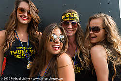 Twisted Tea promotional girls at Dirty Harry's on Main Street during Daytona Bike Week. FL, USA. March 11, 2014.  Photography ©2014 Michael Lichter.