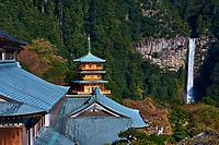 Japon, île de Honshu, région de Wakayama, Kumano Kodo, chemin du pelerinage, Nachi Taisha, Nachi San Seiganto pagode, les cascades de Nachi no Taki, site sacré classé au patrimoine mondial de l'UNESCO // Japan, Honshu, Wakayama, Kumano Kodo pilgrimage trail, Nachi no taki waterfall, and Nachi san Seiganto ji pagoda, holy site, world heritage of the UNESCO