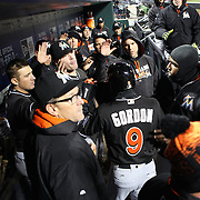 NEW YORK, NEW YORK - APRIL 12: Miami Players celebrate a run scored from Dee Gordon during the Miami Marlins Vs New York Mets MLB regular season ball game at Citi Field on April 12, 2016 in New York City. (Photo by Tim Clayton/Corbis via Getty Images)