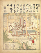 Ancient 17th century Chinese art Silk production Warping and weaving silk From Yu zhi geng zhi tu by Jiao, Bingzhen, 1696