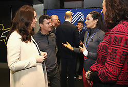 The Duchess of Cambridge meets singer Laura Wright during a SportsAid event at the Copper Box in the Olympic Park, London.