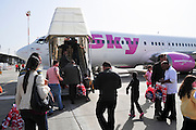 Israel, Ben Gurion International airport, passengers board a Sky Airlines passenger jet to Antalya Turkey