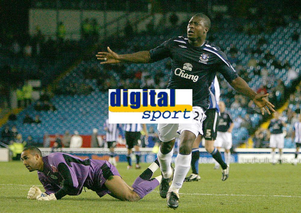 Photo: Steve Bond.<br />Sheffield Wednesday v Everton. Carling Cup. 26/09/2007. Ayegbeni Yakubu wheels away after slotting the ball into ther net