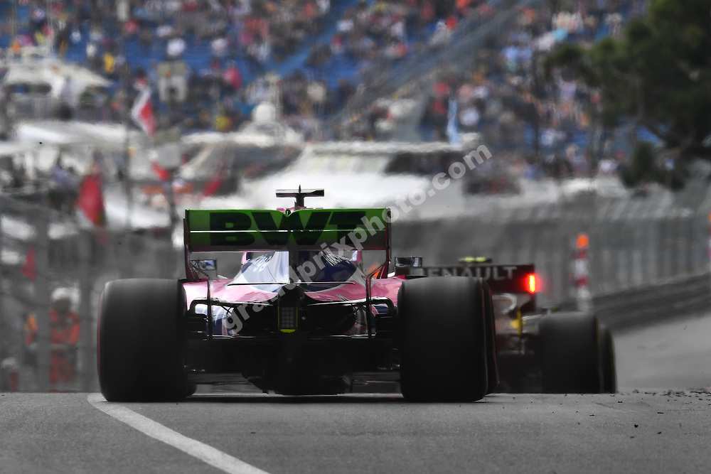 Sergio Perez (Racing Point-Mercedes) and Nico Hülkenberg (Renault) seen from behind during practice before the 2019 Monaco Grand Prix. Photo: Grand Prix Photo