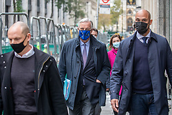 © Licensed to London News Pictures. 10/11/2020. London, UK. Michel Barnier the European chief negotiator walks through Westminster in London followed by his entourage and security for talks with the Government over Brexit. The EU chief negotiator is in London for further discussions with Downing Street after difficult talks yesterday as the chances of a no deal Brexit looms over Whitehall. Photo credit: Alex Lentati/LNP