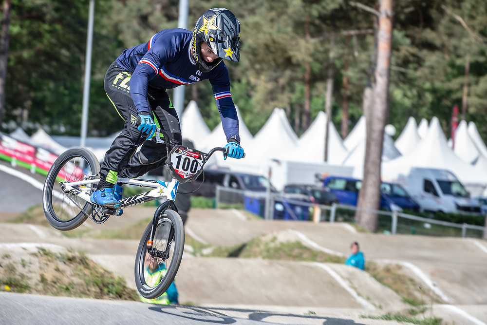 #100 (MAHIEU Romain) FRA during practice at Round 5 of the 2018 UCI BMX Superscross World Cup in Zolder, Belgium