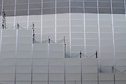 Abstract image of construction site covers shield the demolition of the National Stadium, Shinjuku, Tokyo, Japan. Friday March 6th 2015. Large scale demolition work officially began, March 5th to remove  the old stadium, which was the venue for the 1964 Olympics, after many delays. Construction of the new Olympic stadium for the 2020 games is scheduled to begin in October 2015