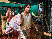 12 SEPTEMBER 2016 - BANGKOK, THAILAND:  A men carries a cleaned goat carcass to the butchers after the Qurbani (ritual sacrifice of livestock) at the celebration of Eid al-Adha at Haroon Mosque in Bangkok. Eid al-Adha is also called the Feast of Sacrifice, the Greater Eid or Baqar-Eid. It is the second of two religious holidays celebrated by Muslims worldwide each year. It honors the willingness of Abraham to sacrifice his son, as an act of submission to God's command. Goats, sheep and cows are sacrificed in a ritualistic manner after services in the mosque. The meat from the sacrificed animal is supposed to be divided into three parts. The family retains one third of the share; another third is given to relatives, friends and neighbors; and the remaining third is given to the poor and needy.         PHOTO BY JACK KURTZ