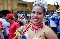 MIAMI - MARCH 9, 2014: Portrait of woman performing during the 37th Calle Ocho festival, an annual event that takes place over Eight Street in Little Havana featuring plenty of music, food, and  it is the biggest party in town that celebrates hispanic heritage.