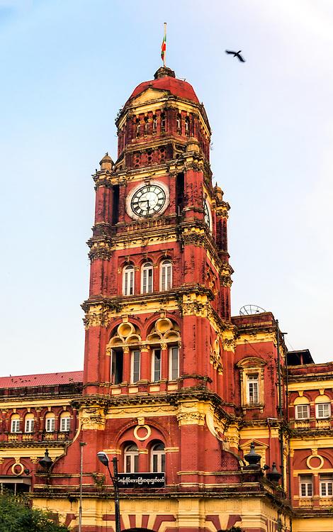 YANGON, MYANMAR - CIRCA DECEMBER 2013: View of the Yangon High Court, an emblematic building from the Colonial era close to the Maha Bandoola Garden in Yangon.