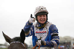 Bryony Frost returns after winning The Crest Nicholson Handicap Steeple Chase Race run during Festival Trials Day at Cheltenham Racecourse.
