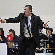 Anadolu Efes's coach Ufuk Sarica during their Turkish Basketball league derby match  Fenerbahce Ulker between Anadolu Efes at Caferaga Sports Hall in Istanbul, Turkey, Saturday 01, 2012. Photo by TURKPIX