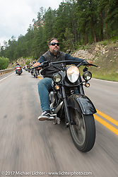 Randy Noldge on the Aidan's Ride to raise money for the Aiden Jack Seeger nonprofit foundation to help raise awareness and find a cure for ALD (Adrenoleukodystrophy) during the annual Sturgis Black Hills Motorcycle Rally. Riding between Nemo and Rapid City, SD, USA. Tuesday August 8, 2017. Photography ©2017 Michael Lichter.
