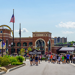 Hershey, PA, USA - September 4, 2020: The new entrance to Hersheypark, a popular attraction in Chocolatetown USA.
