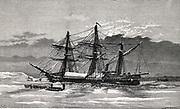 'SS ''Vega'' in winter quarter, c1878. Engraving from ''The Voyage of the Vega ...'', 1885, by Nils Adolf Erik Nordenskjold. Finnish-Swedish explorer,  geologist, mineralogist,'