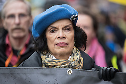 © Licensed to London News Pictures . 12/11/2016 . Manchester , UK . BIANCA JAGGER . Approximately 2000 people march and rally against Fracking in Manchester City Centre . Photo credit : Joel Goodman/LNP