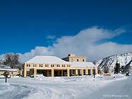 Mammoth Hot Springs Hotel in winter in Yellowstone National Park