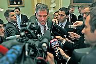 Scott Brown,senator elect, talks to media after meeting with Majority Leader Harry Reid D-AZ. Photo by Dennis Brack