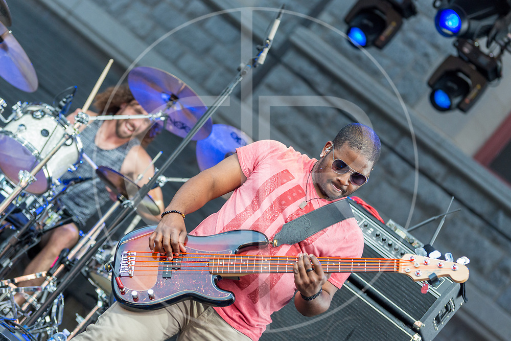 BALTIMORE United States - July 18, 2015: Trombone Shorty & Orleans Avenue perform on the Wells Fargo Stage at Artscape, located in Baltimore's Mount Royal Cultural Corridor