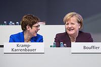 22 NOV 2019, LEIPZIG/GERMANY:<br /> Annegret Kramp-Karrenbauer (L), CDU Bundesvorsitzende und Bundesverteidigungsministerin, und Angela Merkel (R), CDU, Bundeskanzlerin, im Gespraech, CDU Bundesparteitag, CCL Leipzig<br /> IMAGE: 20191122-01-262<br /> KEYWORDS: Parteitag, party congress, Gespräch, lachen, lacht, freundlich