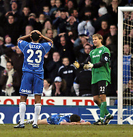 Fotball<br /> FA-cup 2005<br /> Oldham Athletic v Bolton Wanderers<br /> 30. januar 2005<br /> Foto: Digitalsport<br /> NORWAY ONLY<br /> Oldham's Alex Bruce (prone) squanders arguably their best chance of the match, firing over from close distance as Kevin Betsy looks on with his head in his hands