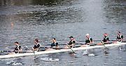 Cambridge. Mass, USA.  Master Men's Eights, Molesey BC after passing under Eliot Bridge.   2014 Head of the Charles Regatta. Charles River. Boston. 15:22:06  Saturday  18/10/2014.  [Mandatory Credit; Peter Spurrier/Intersport-images]<br /> <br /> Crew: Artour Samsonov  <br /> Simon Fieldhouse <br /> David Gillard, Alex Partridge<br /> Guy Pooley<br /> Jonny Searle<br /> Robert Thatcher<br />  James Wright<br /> Cox, Neil Chugani 2014. HOCR, 50 Years, anniversary