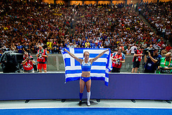 August 9, 2018 - Berlin, GERMANY - 180809 Ekaterini Stefanidi of Greece celebrates after winning the women's pole vault final during the European Athletics Championships on August 9, 2018 in Berlin..Photo: Vegard Wivestad GrÂ¿tt / BILDBYRN / kod VG / 170199 (Credit Image: © Vegard Wivestad Gr¯Tt/Bildbyran via ZUMA Press)
