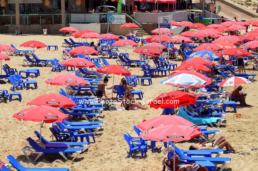 Israel, Tel Aviv Holidaymakers on the beach
