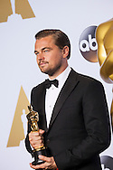 """88th Academy Awards press room.<br /> Leonardo DiCaprio, winner of best actor in a leading role at the 88th Academy Awards for the film """"The Revenant."""""""