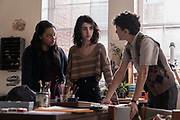 Alexa Mansour as Hope, Aliyah Royale as Iris, Nicolas Cantu as Elton - TWD3 _ Season 1 - Photo Credit: Sarah Shatz/AMC