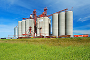 Inland grain terminal and train <br /> Weyburn<br /> Saskatchewan<br /> Canada