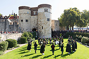 The Fusiliers band perform on the green at the Tower of London in London, England as part of their 50th anniversary celebrations on September 06, 2018.