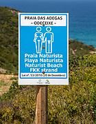Praia das Adegas naturist beach sign, Odeceixe, Algarve, Portugal
