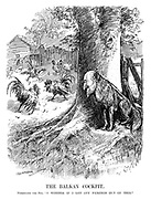 "The Balkan Cockpit. Ferdinand the Fox. ""I wonder if I get any pickings out of this."" (cartoon showing Ferdinand I of Bulgaria hiding behind a tree as two cocks fight in the hen house during the InterWar era)"