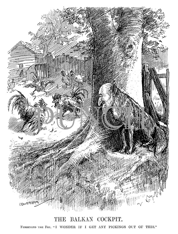 """The Balkan Cockpit. Ferdinand the Fox. """"I wonder if I get any pickings out of this."""" (cartoon showing Ferdinand I of Bulgaria hiding behind a tree as two cocks fight in the hen house during the InterWar era)"""