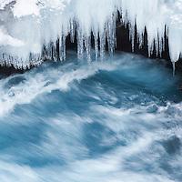 Detail of river Hvíta in winter, Iceland.