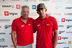 Gasper Bolhar and Anze Kopitar at Anze's Eleven and Triglav Charity Golf Tournament, on June 30, 2012 in Golf court Bled, Slovenia. (Photo by Matic Klansek Velej / Sportida)