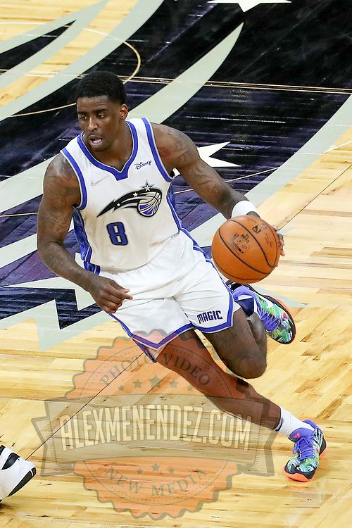 ORLANDO, FL - APRIL 12: Dwayne Bacon #8 of the Orlando Magic dribbles the ball against the San Antonio Spurs at Amway Center on April 12, 2021 in Orlando, Florida. NOTE TO USER: User expressly acknowledges and agrees that, by downloading and or using this photograph, User is consenting to the terms and conditions of the Getty Images License Agreement. (Photo by Alex Menendez/Getty Images)*** Local Caption *** Dwayne Bacon