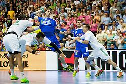 Sebastian Skube #11 of Slovenia during handball match between National teams of Slovenia and Hungary in play off of 2015 Men's World Championship Qualifications on June 15, 2014 in Rdeca dvorana, Velenje, Slovenia. Photo by Urban Urbanc / Sportida