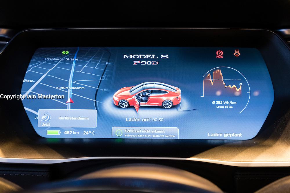 Digital dashboard on Model S car inside Tesla electric car showroom on Kurfurstendamm, Kudamm, in Charlottenburg, Berlin, Germany